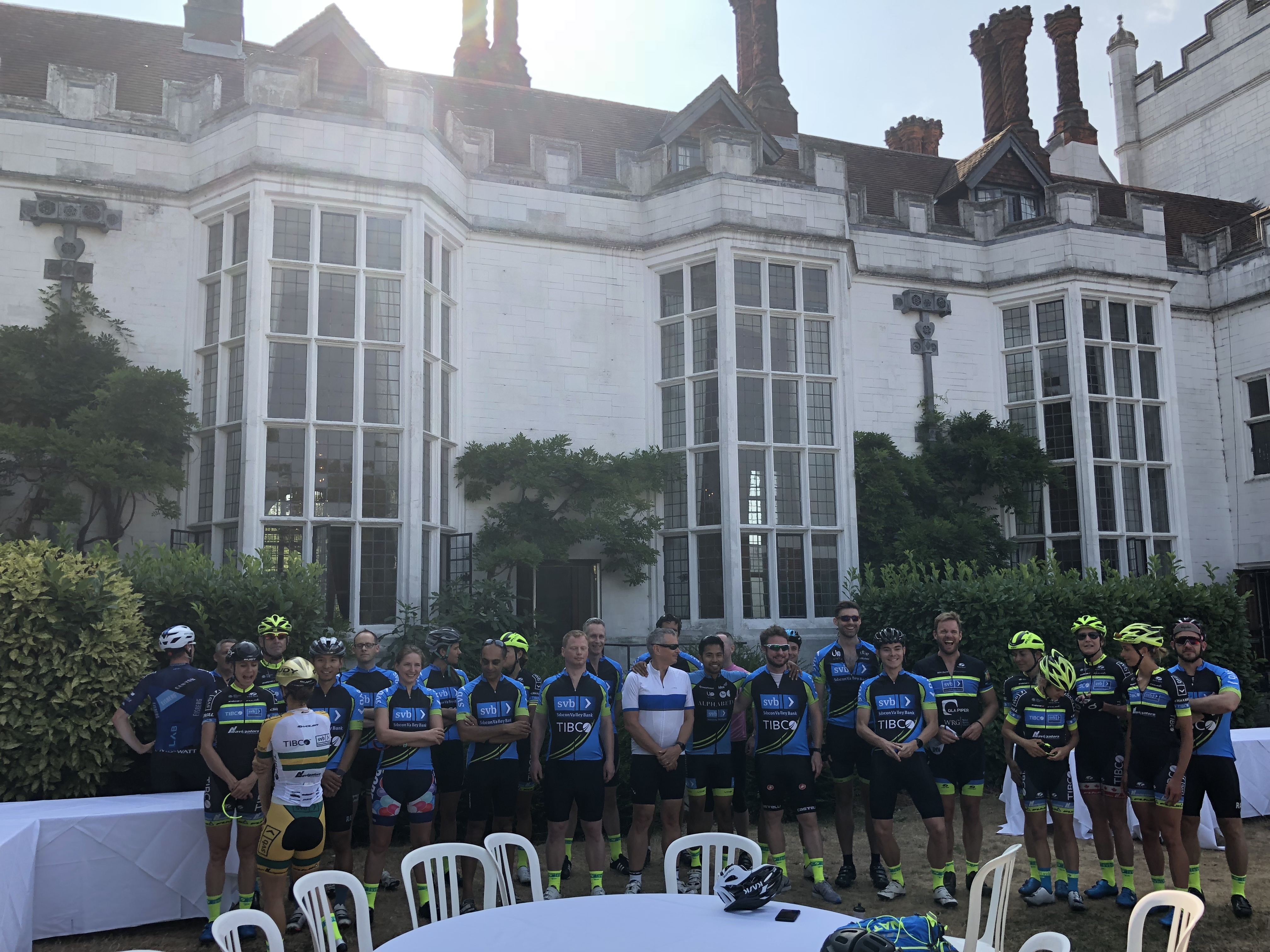 Members of Silicon valley bank pose for a corporate cycling trip photo